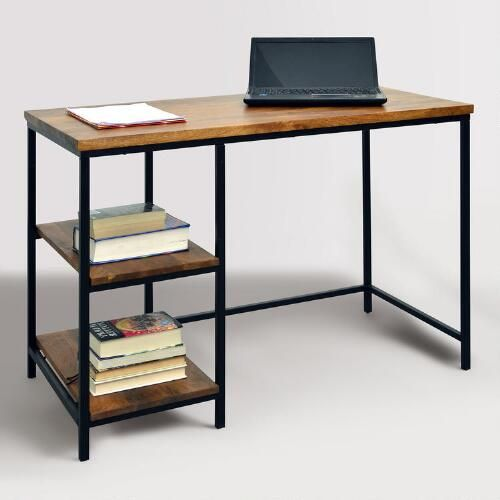 The Clean Simple Design Of Our Contemporary Desk Makes It A Versatile Addition To Any Work Area With A Black Metal Frame Contrasted Wit Wood Metal Desk Furniture Contemporary Desk