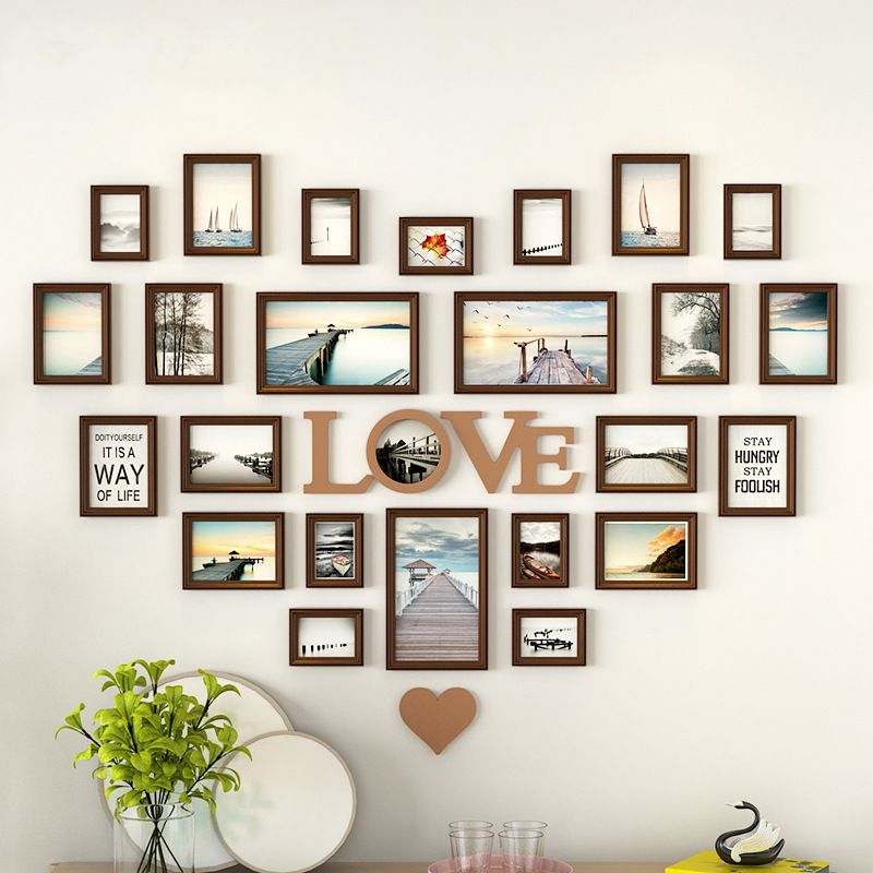 Romantic Heart Shaped Photo Frame Wall Decoration 25pieces Set