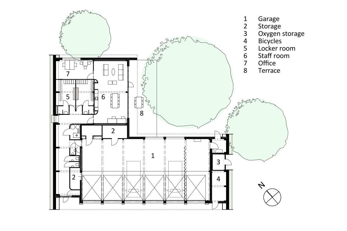 Gallery Of Ambulance Station Het Architectenforum 14 Ambulance Modern Architecture Building Floor Plans