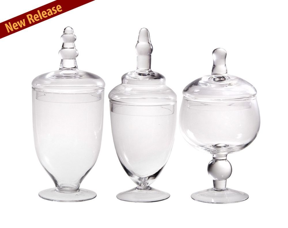 Decorative 3 Jars Clear Glass Apothecary Multi Use Kitchen Bathroom ...