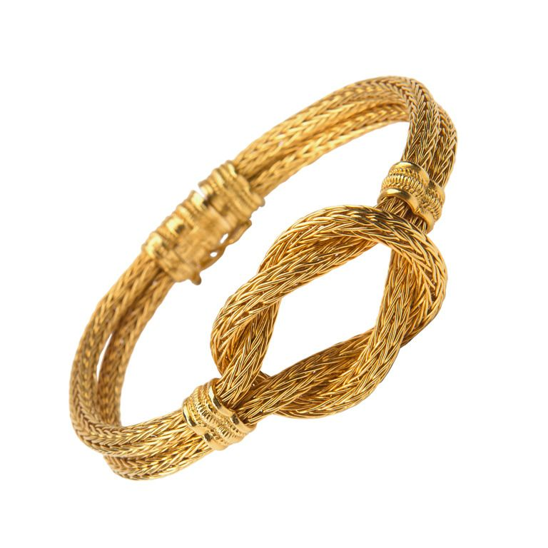 Ilias Lalaounis Woven Gold Bracelet | From a unique collection of ...
