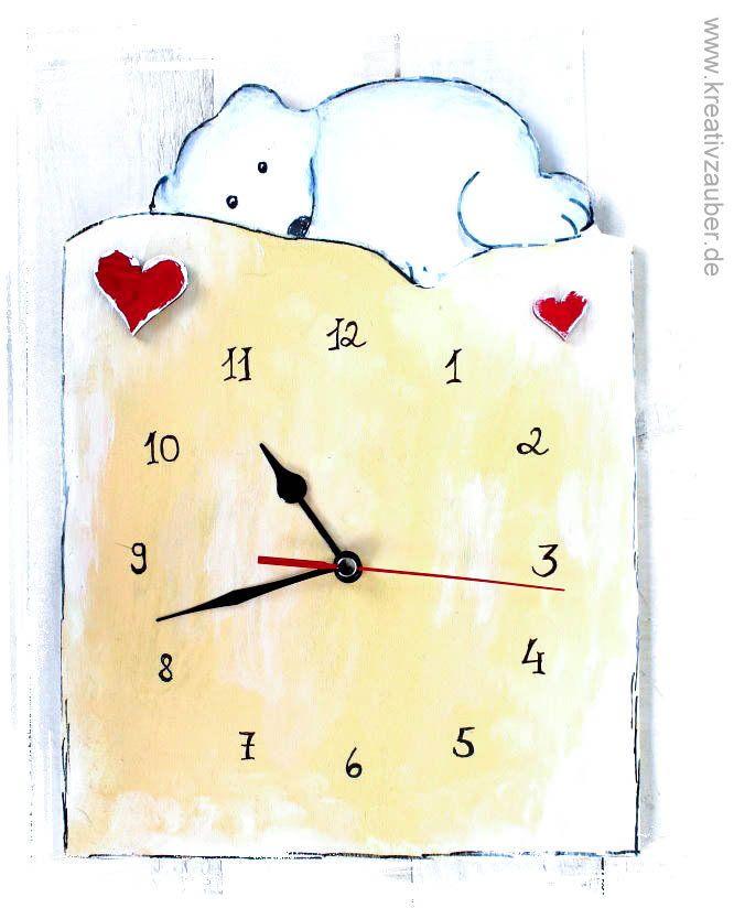Uhr basteln anleitung  Uhr basteln ☆ inklusive Anleitung, Rohling aus Holz, Herzen ...