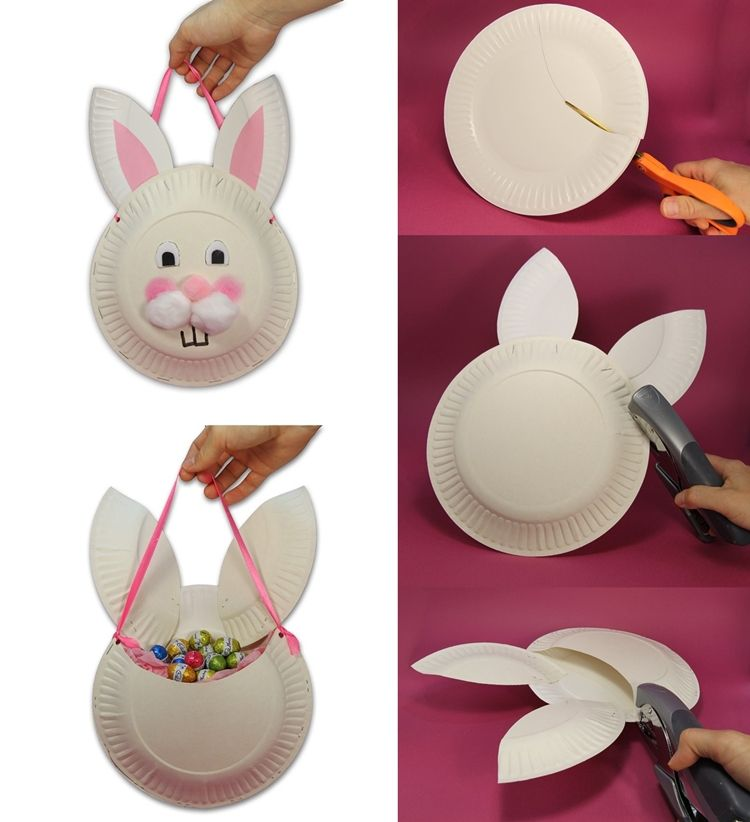 Easter Bunny Basket Craft With Paper Plates  sc 1 st  Pinterest & How Cute and Easy is this Paper Plate Easter Bunny Bag - http://www ...