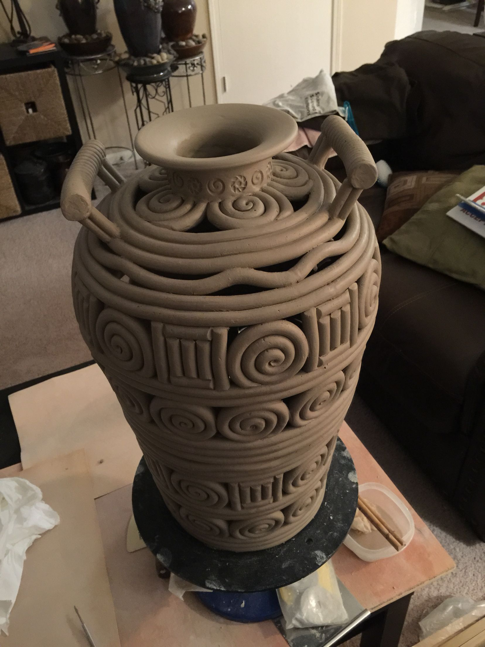 Large Negative Space Coil Pot