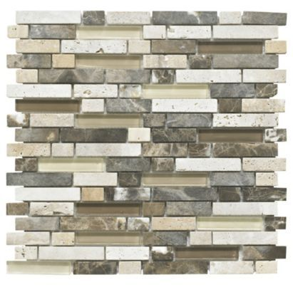 Colours Emperador Stone Glass Offset Mix Mosaic Wall Tile 300