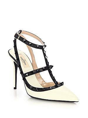 valentino rockstud leather colorblock pumps  valentino