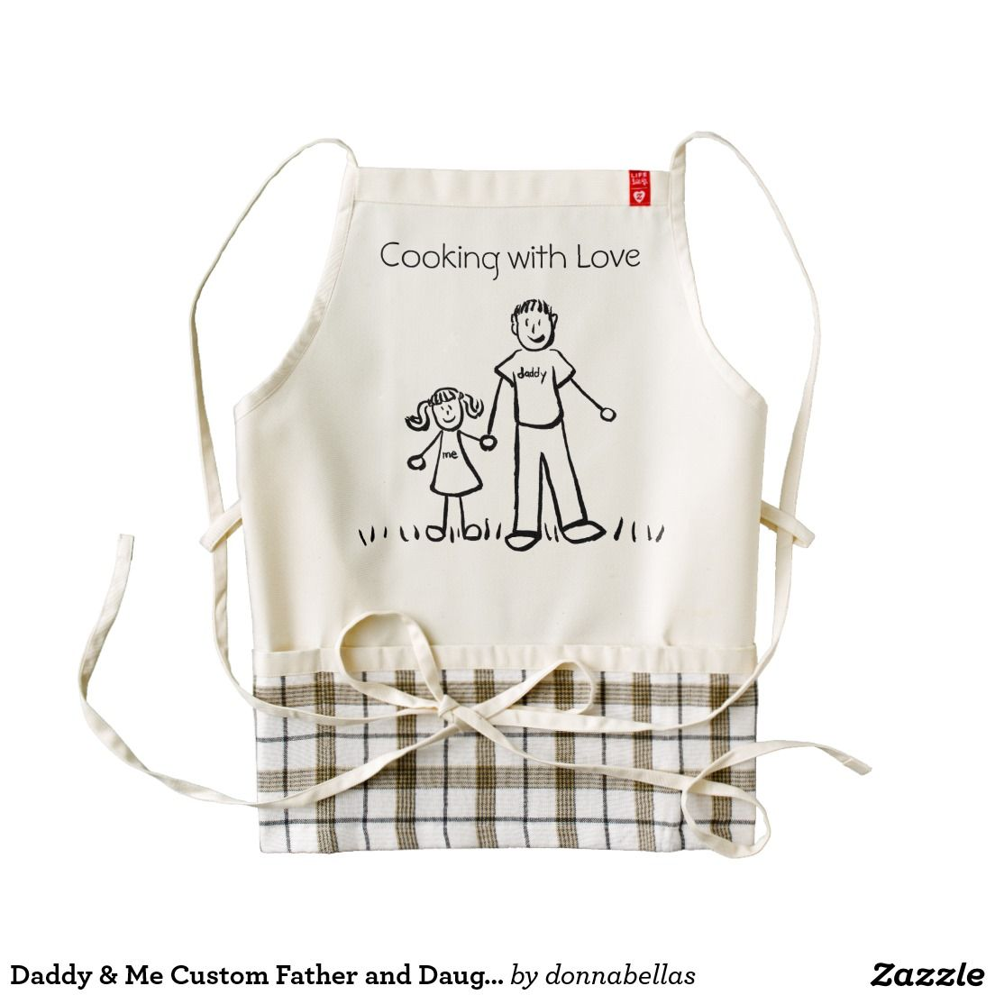 "Daddy & Me Drawing Custom Father and Daughter ""Cooking with Love"" Family Apron"