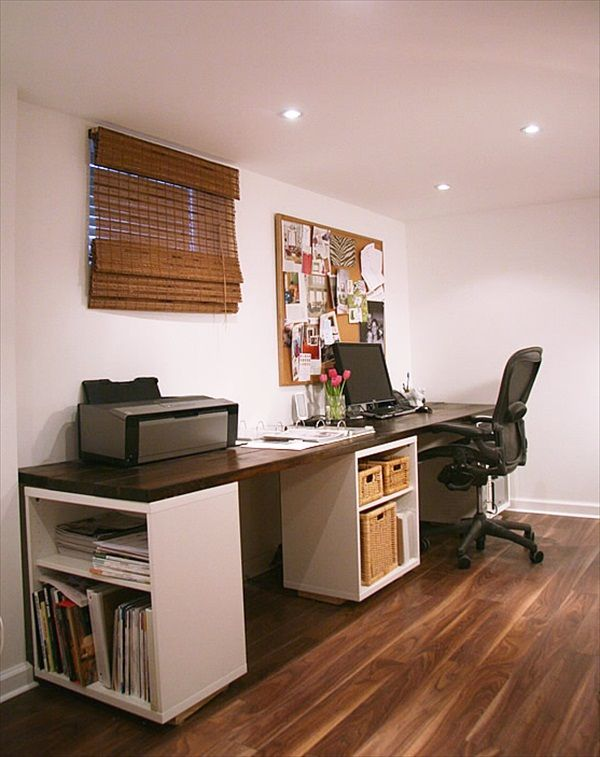 DIY desk tutorial made from Ikea units and a slab of wood. I may never buy  another desk again. Love this for a law office waiting room!