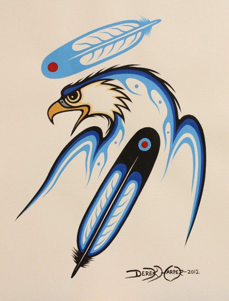 Kitigan Derek Harper Eagle Head and Two Feathers $60 00