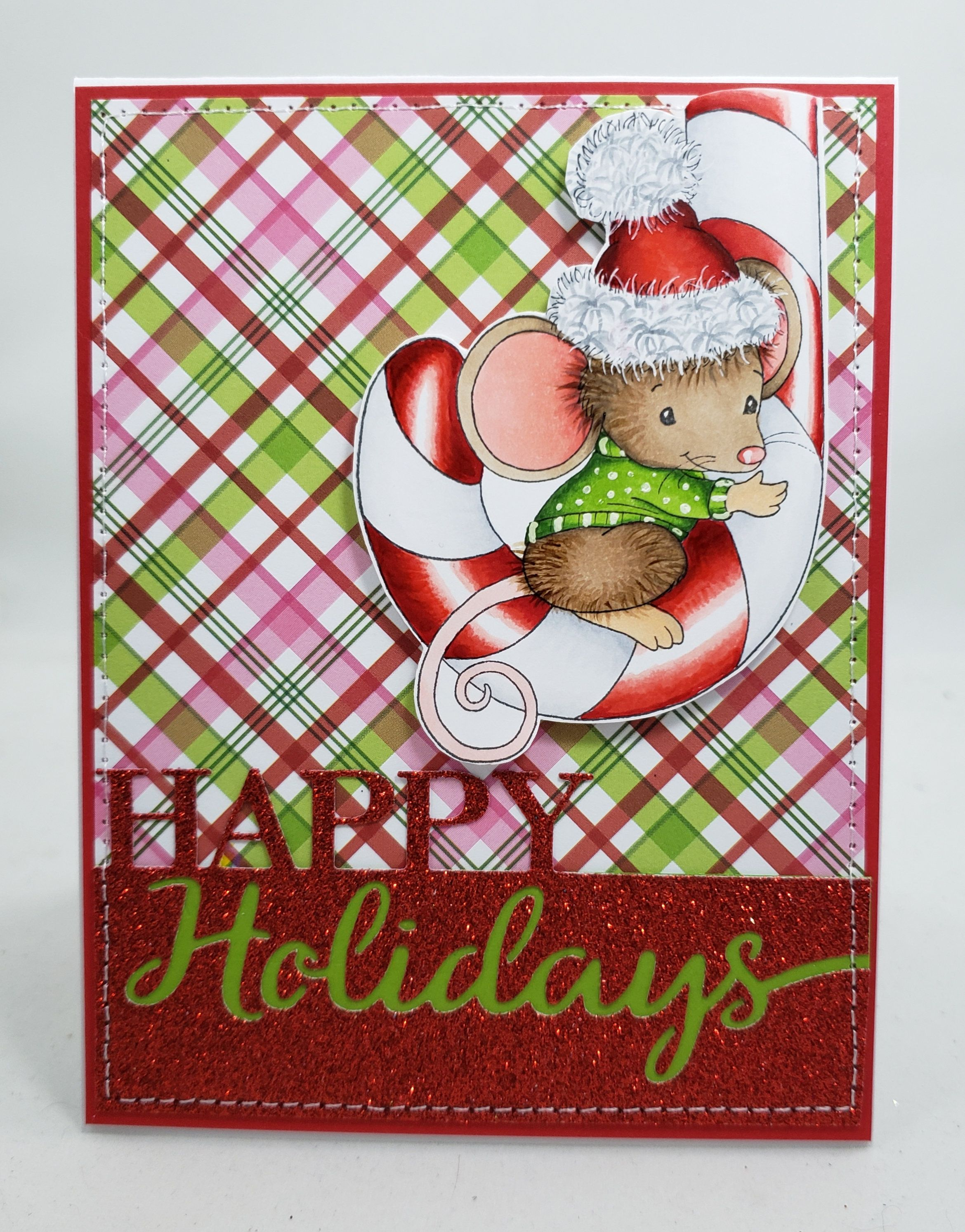 Mouse Candy Cane Christmas Card Blank NoteCard
