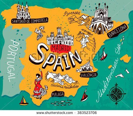 Kids Map Of Spain.Illustrated Map Of Spain Stock Vector Maps Map Of Spain Spain