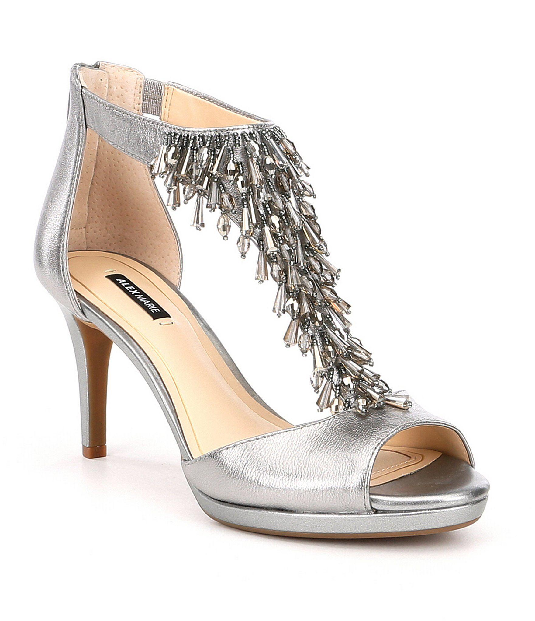 1cc5ecc42fb Alex Marie Dellah Beaded Metallic Leather Dress Sandals #Dillards ...