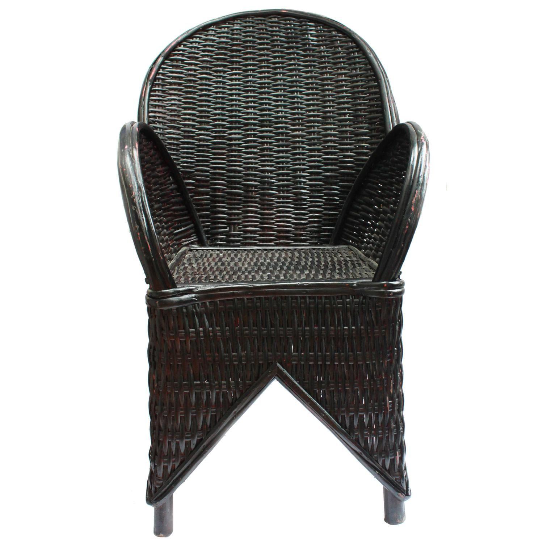 Black Wicker Chair Handmade In Morocco 1