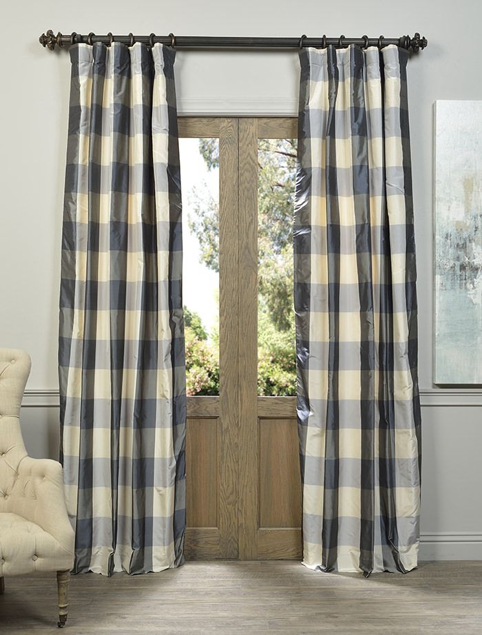 Bright Oxford Check Lined Curtains Curtains & Pelmets Tiebacks Pair Brand New