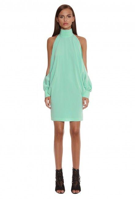 c35aa8678d3 Image 1 of Uma Split Sleeve Mini Dress with High Neck · Mint Green · AQ/AQ