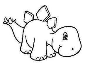 dibujo de dinosaurio para colorear dinosaurio bebe muy mono | 0h