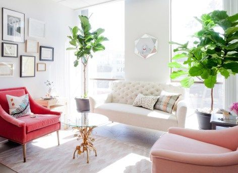 The stylish office of fashion publicists Jill Cooper and Sara Andrasson, co-founders of Michele Marie PR Los Angeles and New York. Via @sarahsarna.
