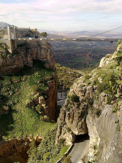 The Suspended Bridge In Constantine Algeria By Mountain Photos Scenery Constantine