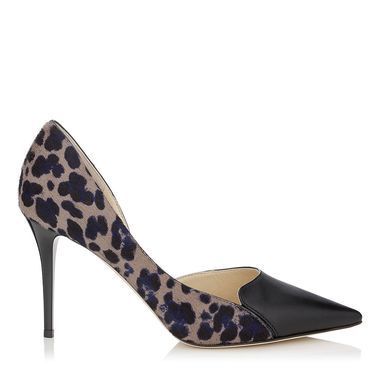 Cosmo Leopard Print Pony and Black Nappa Pointy Toe Pumps