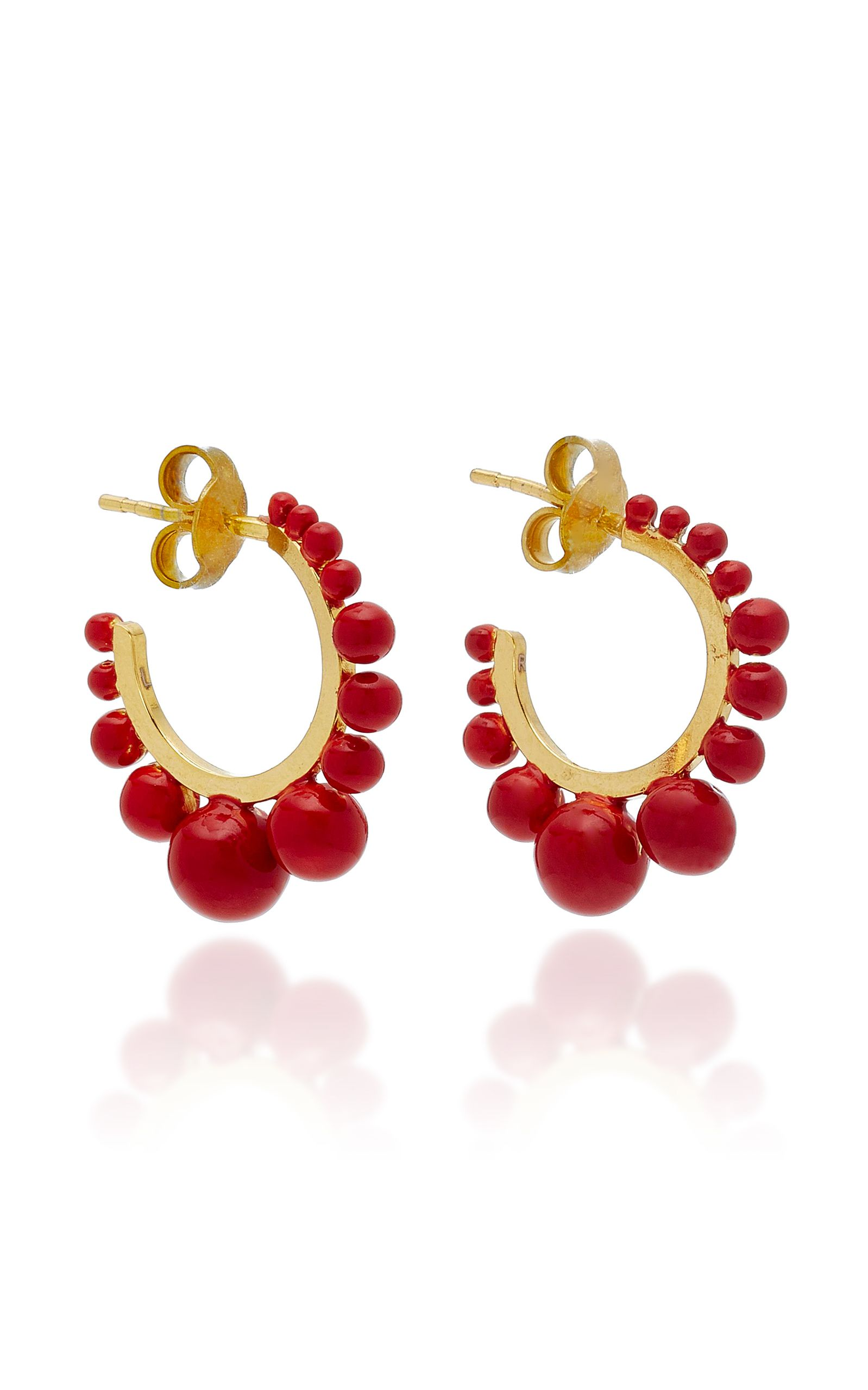 Aurélie Bidermann Ana Small Earrings in Coral Color Pearls and 18K Gold-Plated Brass KMimEN