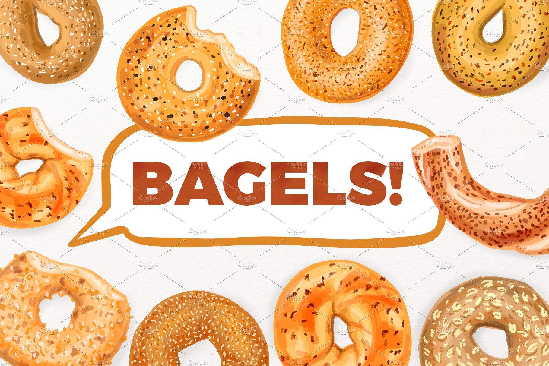 Hand Drawn Vector Bagel Set How To Draw Hands Bagel Hand Drawn Vector