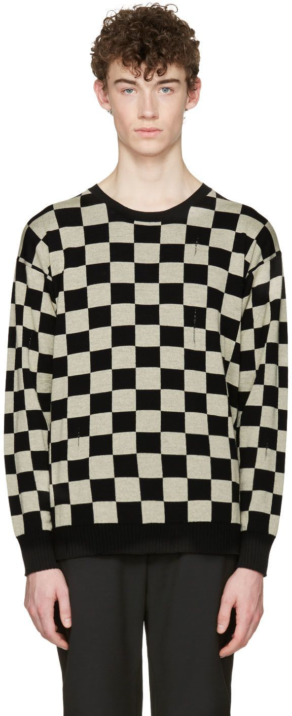 Marc Jacobs Black Check Distressed Sweater Distressed Sweaters Men Sweater Jacob Black [ 1412 x 576 Pixel ]