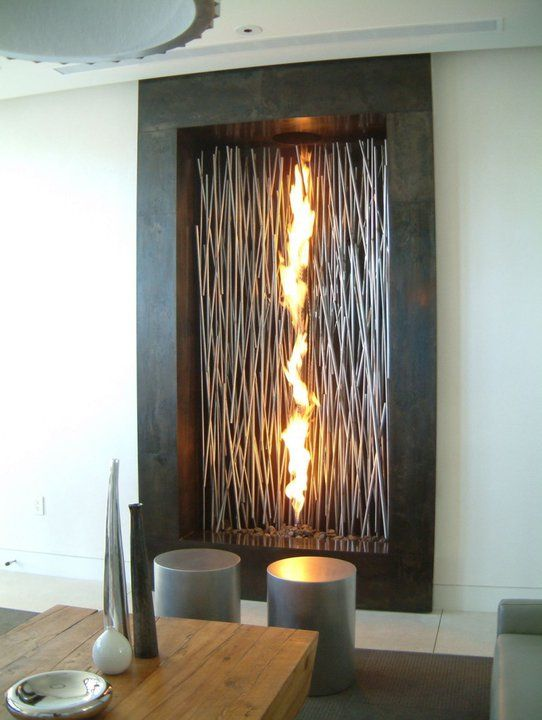 Modern Interior Fireplaces  Better Idea  A Long Vertical Fireplace!