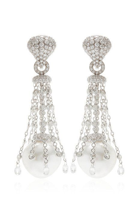 South Sea Pearls And Briolette Diamonds 11 23ct Drop Earrings By Gioia For Preorder On Moda