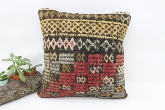 Turkish Kilim Pillow, 14x14 Nomadic Pillow, Embroidered Pillow,Small Throw Pillows,Cushion Cover, Re