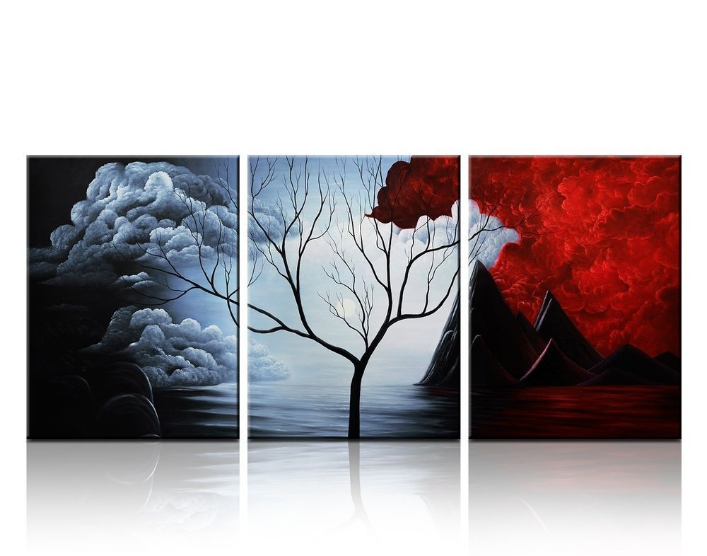 Wall Decor Landscape Paintings on Canvas 12x16inch 3pcs/set Stretched and Framed #SantinArt