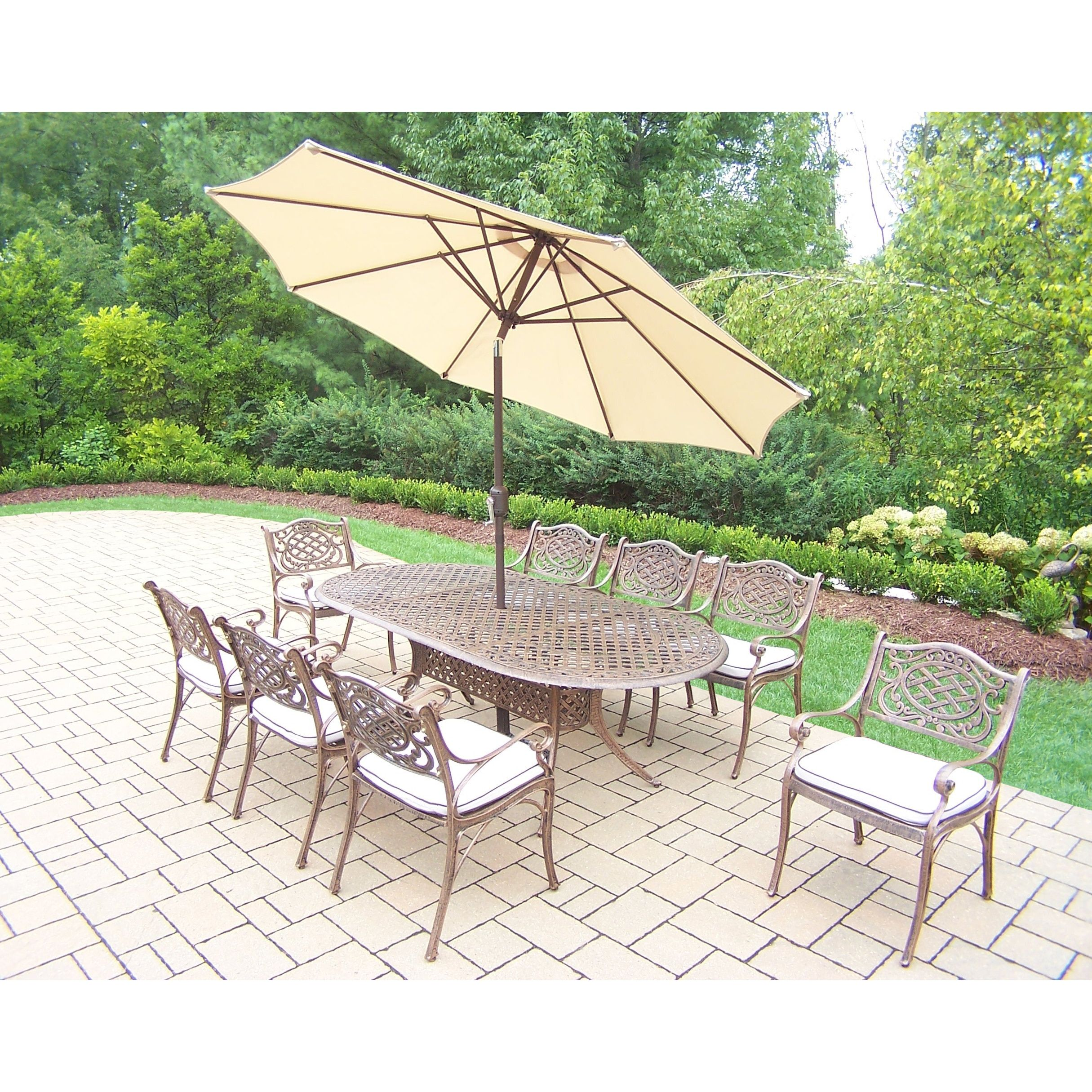 Oakland Living Corporation Dakota Outdoor Dining Set With Oval Table  (Antique Bronze, Beige Umbrella), Size Sets, Patio Furniture (Aluminum)