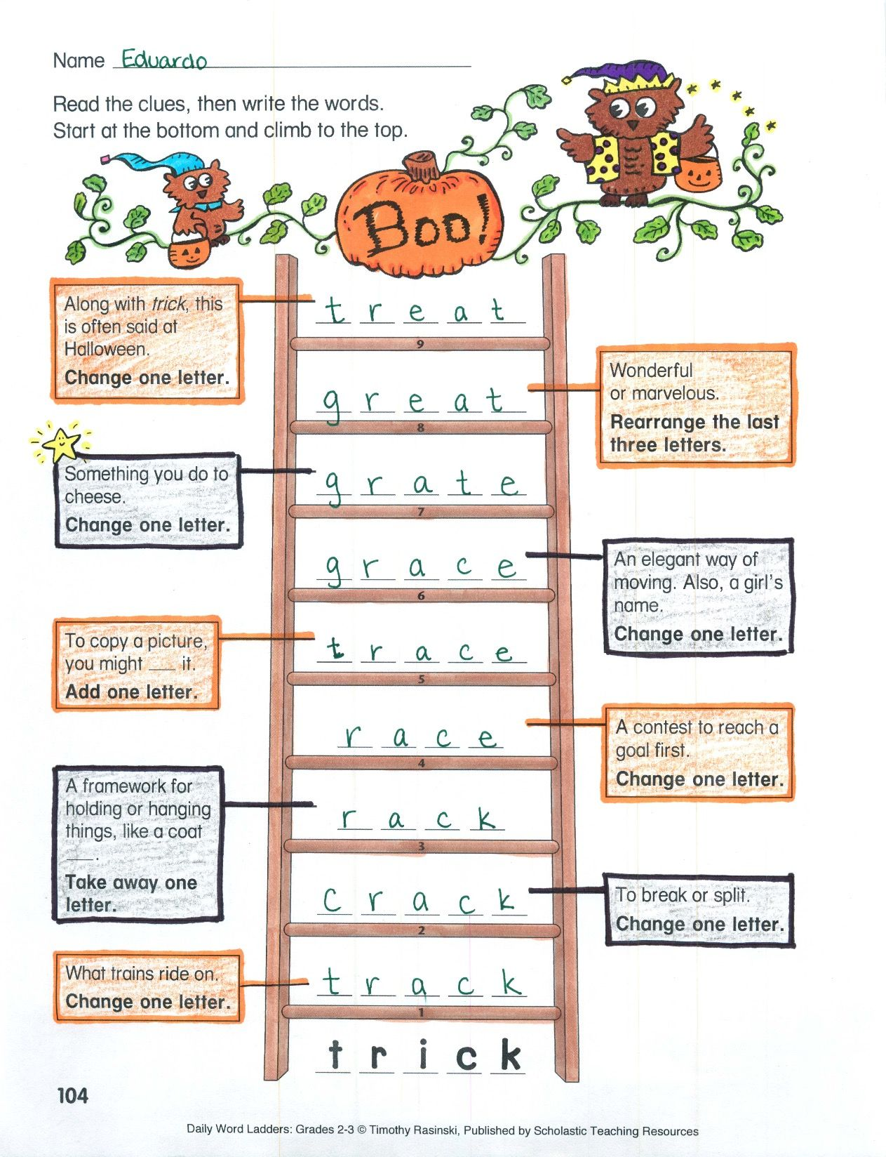 Students Begin At The Bottom Of The Ladder Then Add