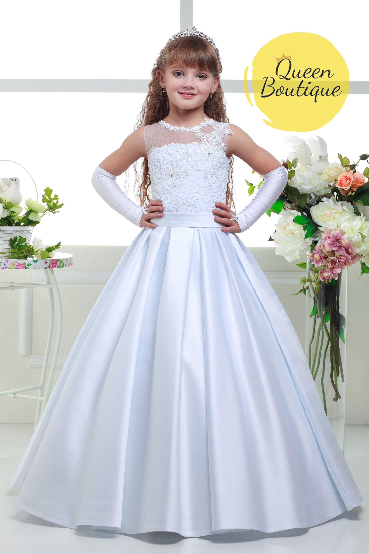 Long white flower girl dress in 2020 toddler flower girl