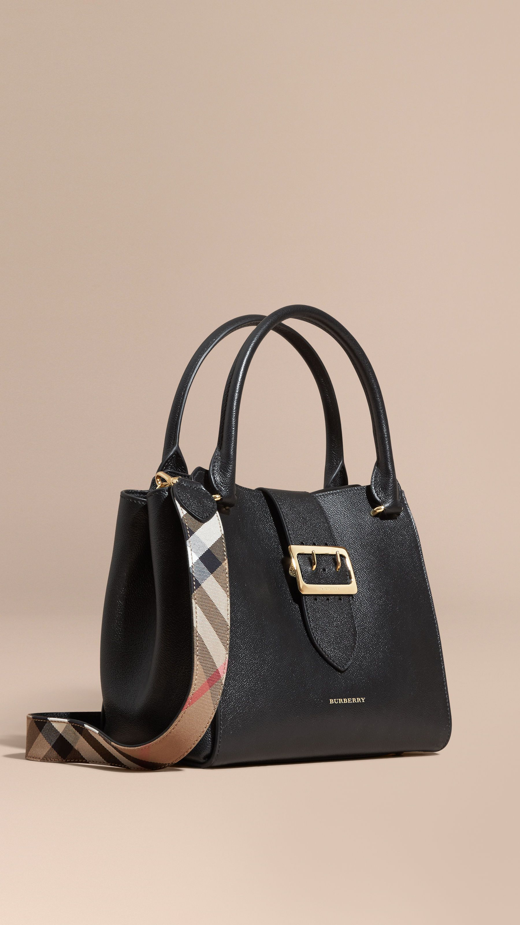 5188ae4b0905 The Medium Buckle Tote in Grainy Leather Black