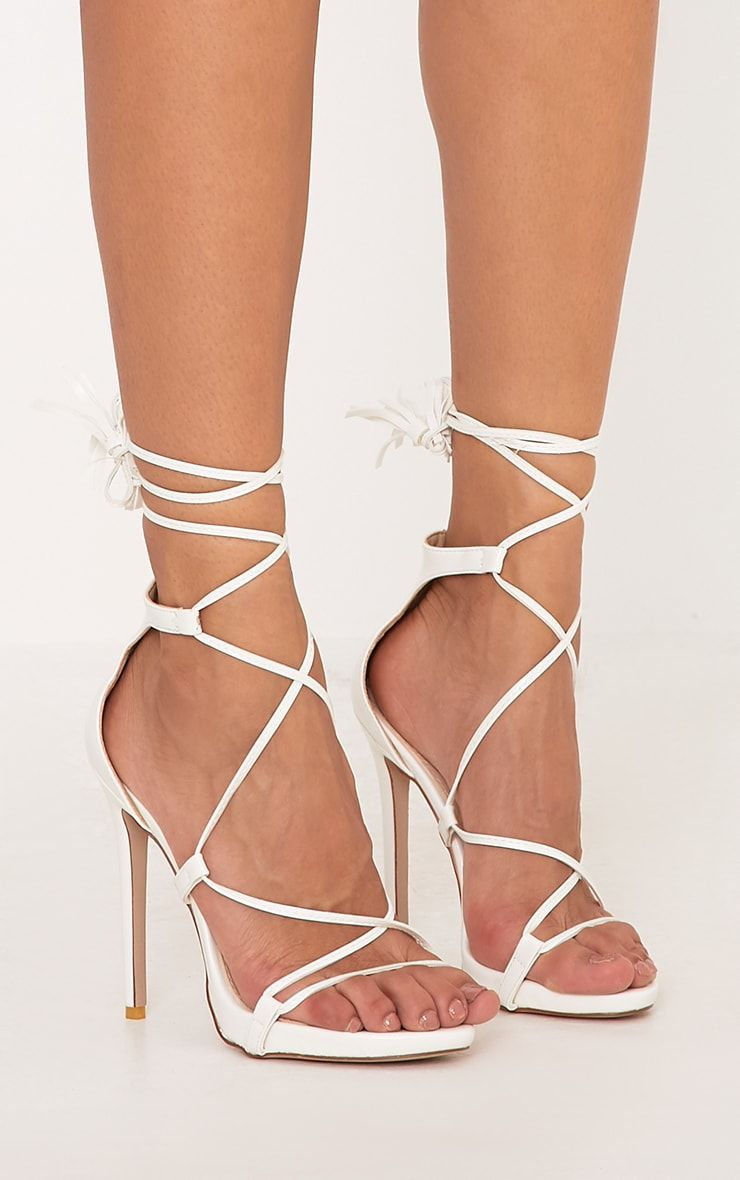 2efb06027ca Rosaline White Tassel Lace Up Heels | Shoes <3 | Lace Up Heels, Lace ...