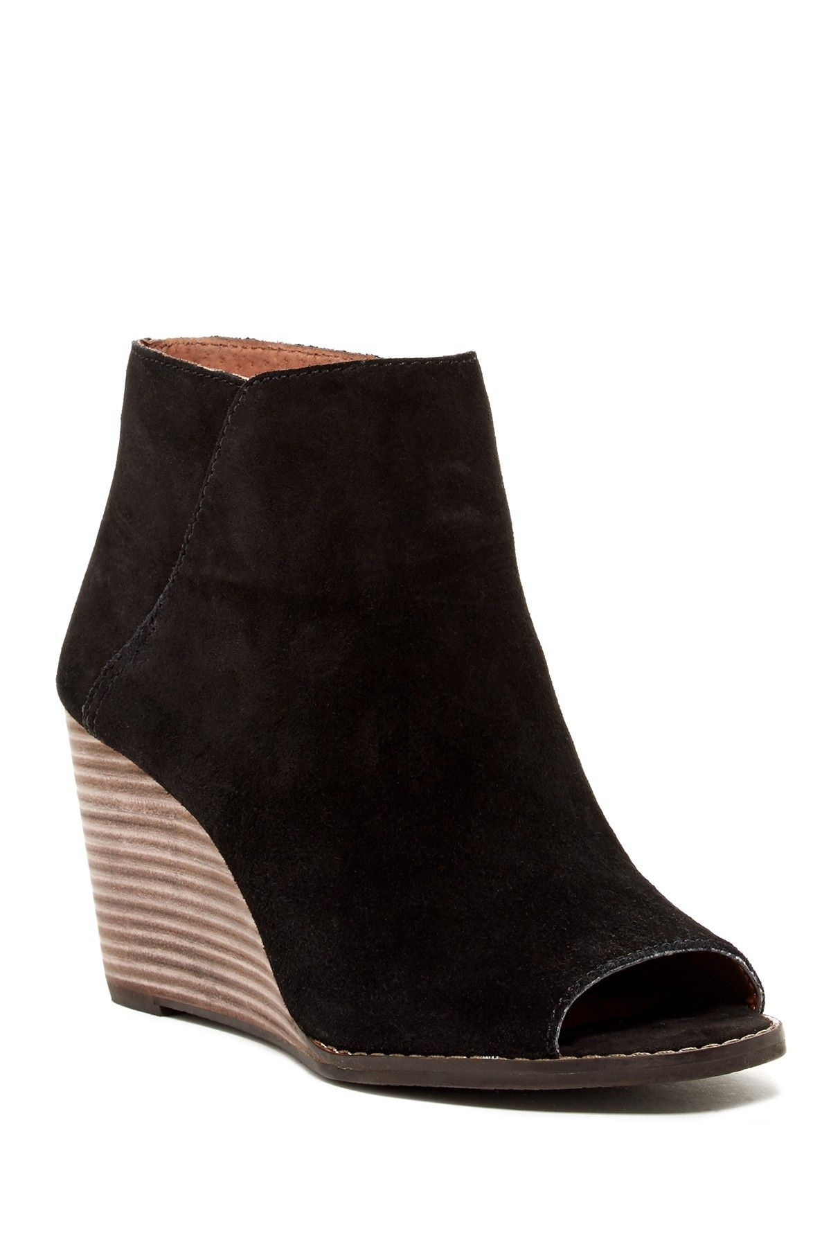 dba72b67883 Jezzah Peep Toe Wedge Bootie