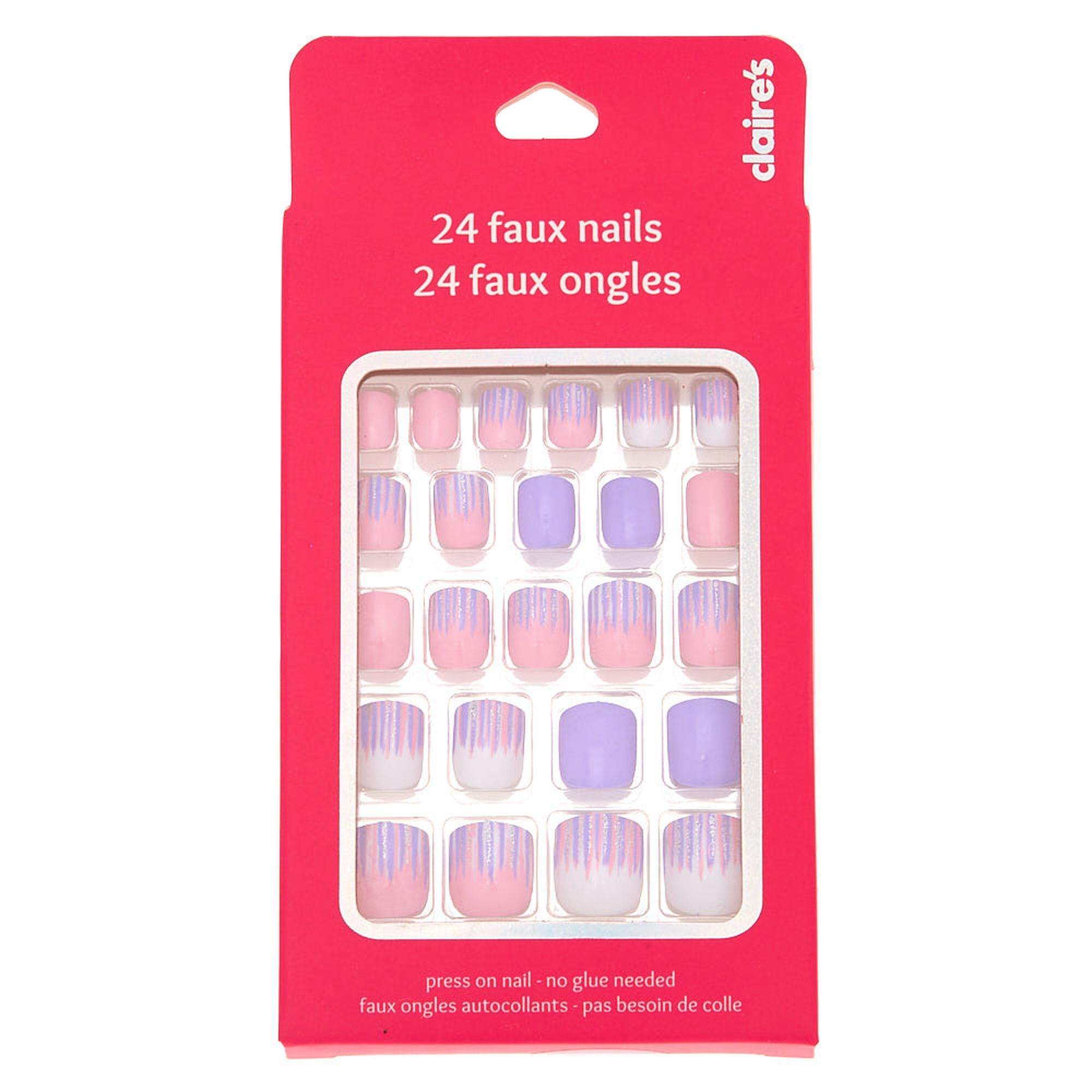 Brushed Stripe Square Press On Faux Nail Set 24 Pack Fake Nails For Kids Nail Set Nails For Kids