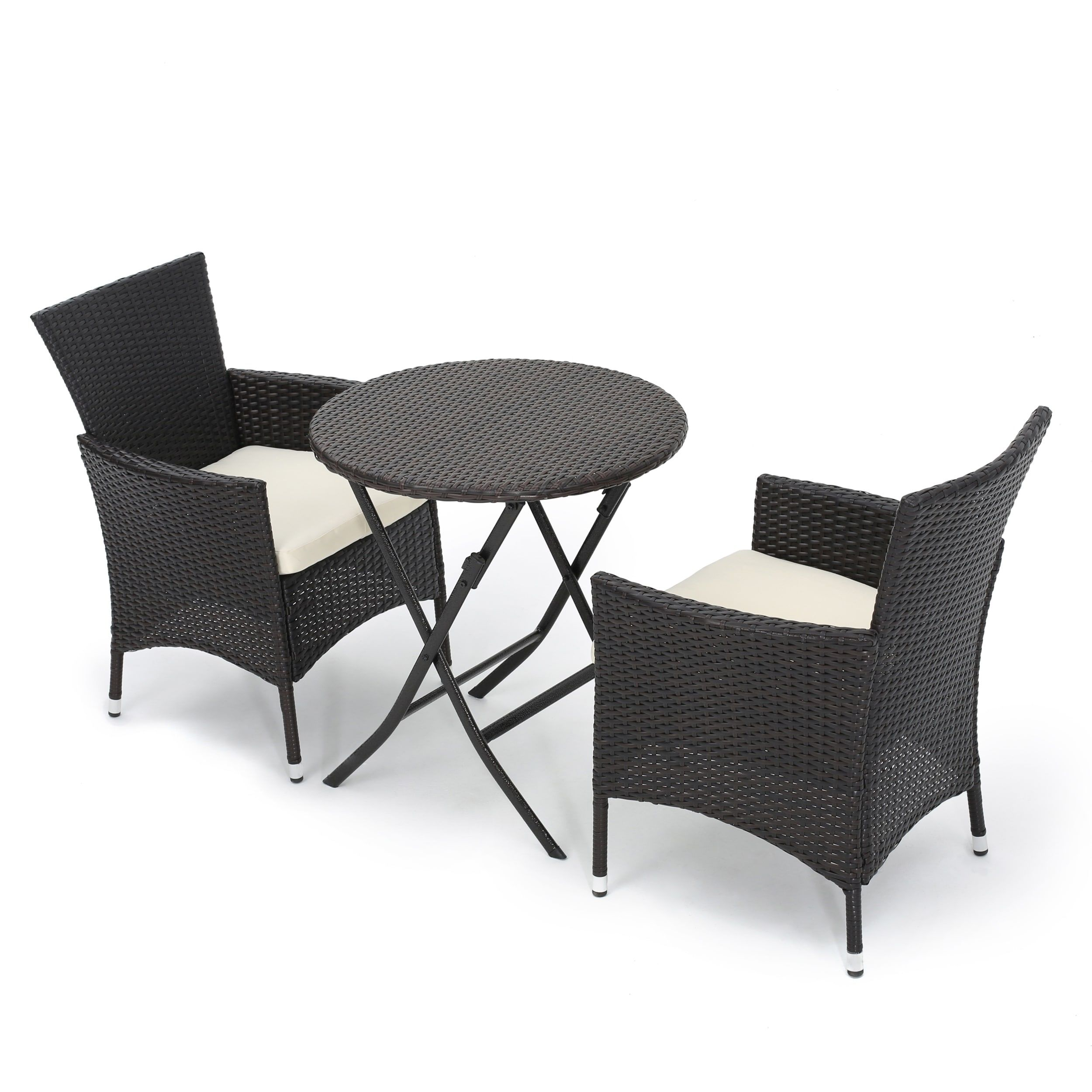 Malaga Outdoor 3 Piece Round Wicker Dining Bistro Set With Cushions By  Christopher Knight Home