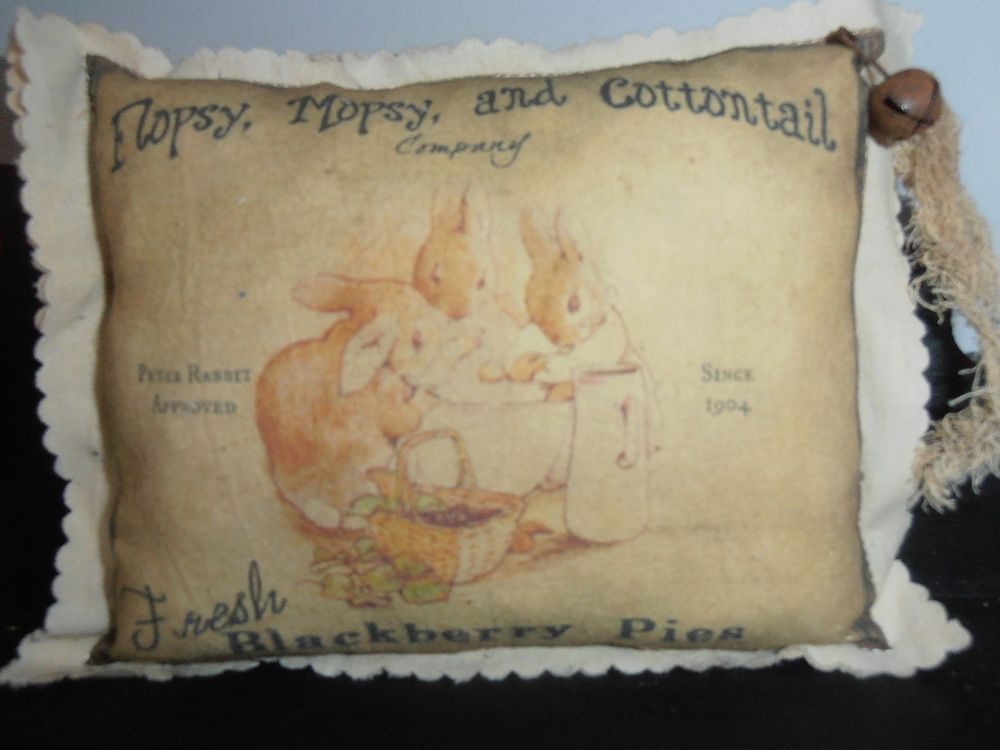 Fabric ShelF SiTTer Rabbits Flopsy, Mopsy & Cottontail Easter Primitive DEcoR #nannysattic15 #primitive #nannysattic15 Ebay