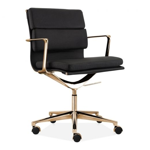 Soft Pad Office Chair With Short Back Black Gold Best Office
