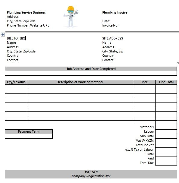 free plumbing invoice templates 13 Free Plumbing Invoice - job quotation sample