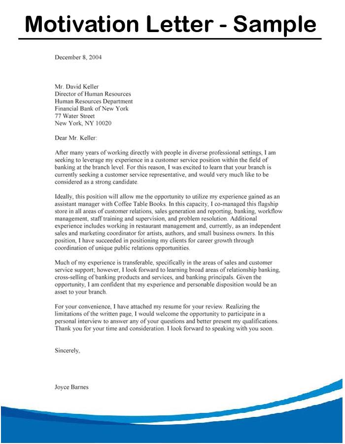 Motivation Letter Sample Example For Job Internship E Motivational Essay Work Experience