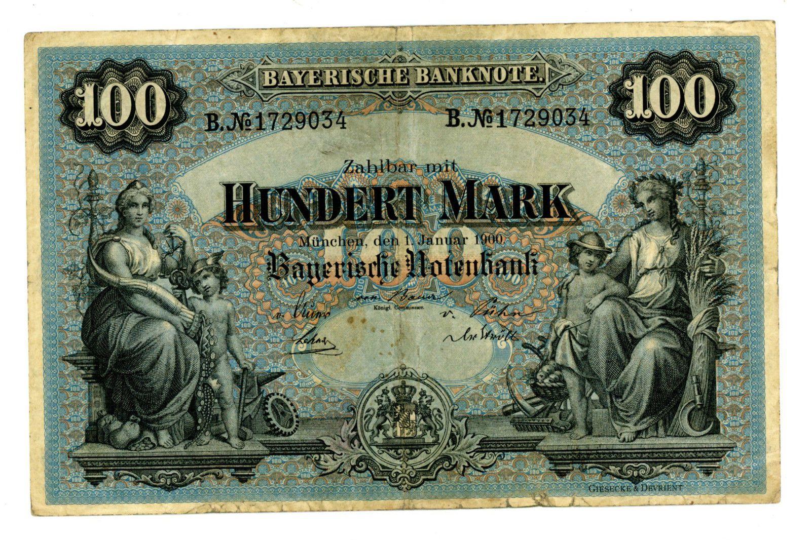 1900 Bavaria 100 Marks Bank Notes Money Notes Money Collection