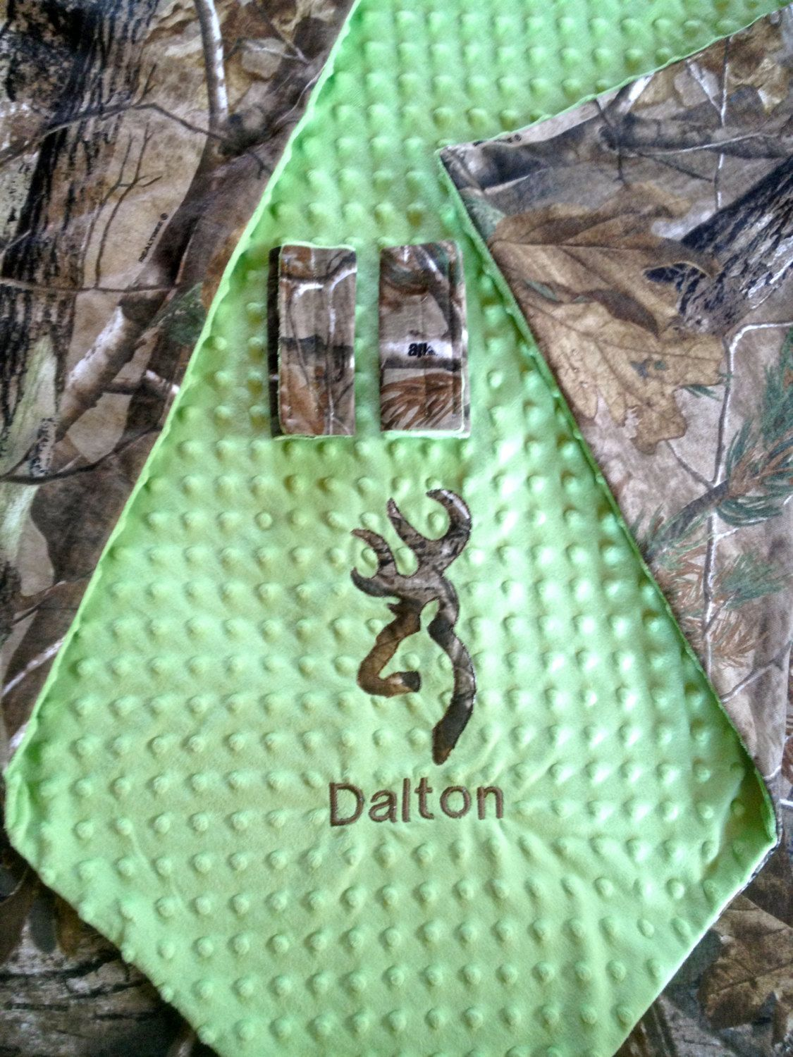 Personalized Camo Camouflage Hunting Blanket Newborn Infant 36 x 40 Deerhead
