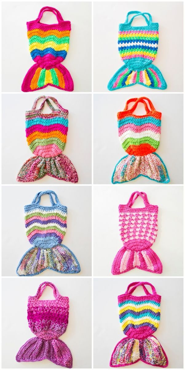 Handmade Mermaid Crochet Knit Bags. Cute for kids to tote around and ...