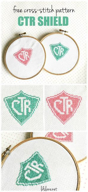 Free Cross Stitch Pattern - CTR Shield (LDS Lane) | Mujeres jóvenes ...