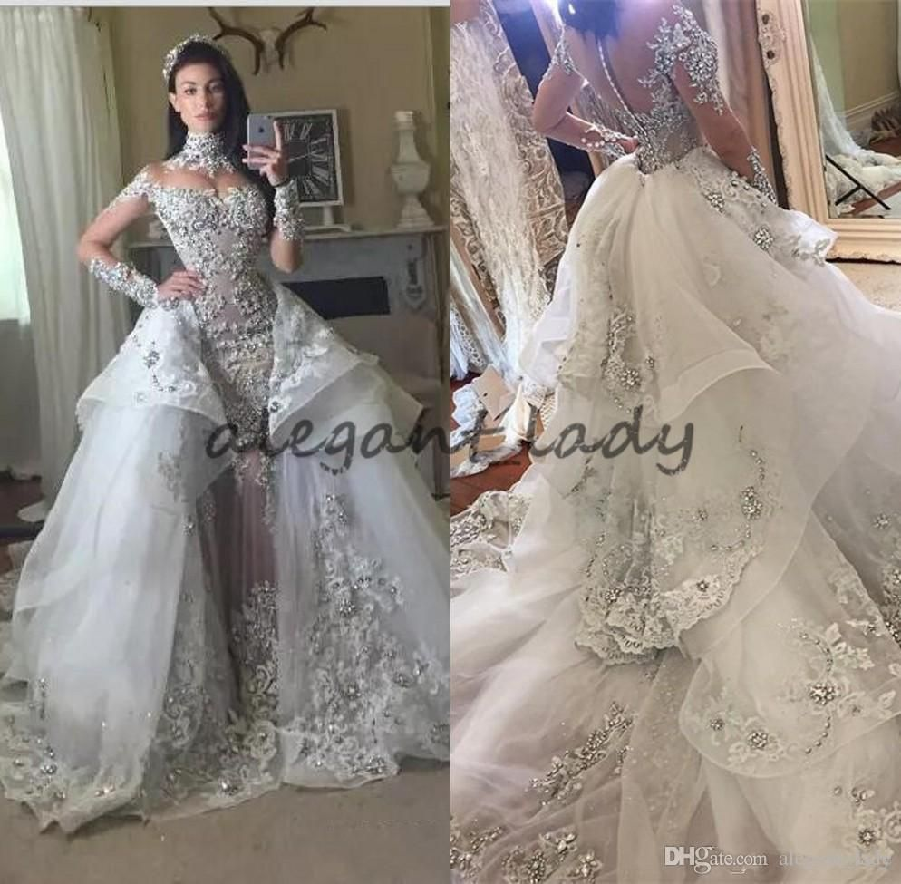 39b672a7560 Luxury Crystal Wedding Dresses 2018 With Detachable Skirt High Neck Long  Sleeves Beaded Applique Court Train