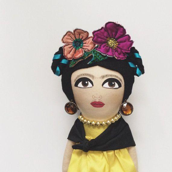 Gold silk Frida Kahlo artdoll
