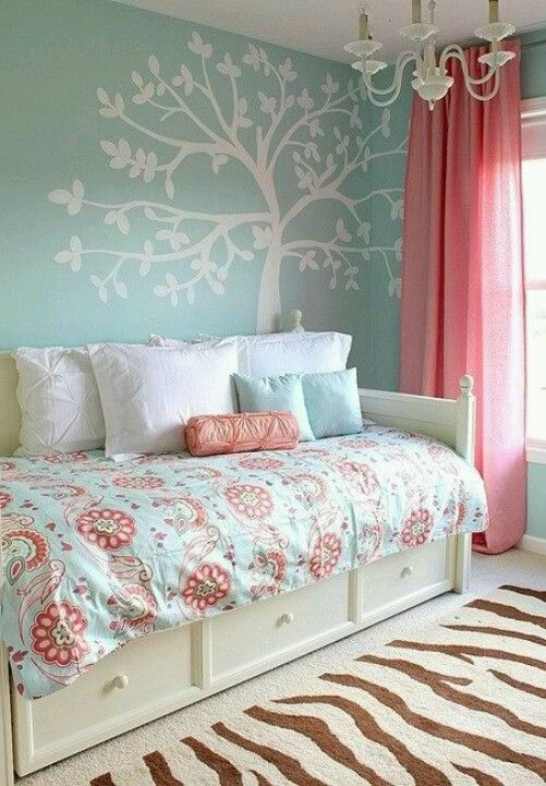 Bedroom Designs Duck Egg Blue love the blue wall with coral curtains | home | pinterest