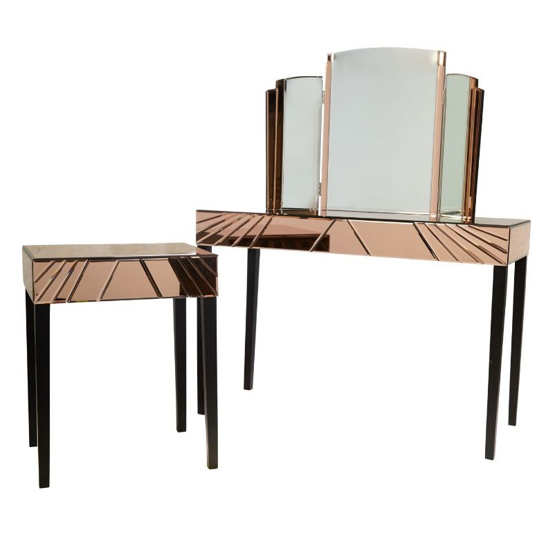Our beautiful and rare Toulouse Dressing Table Triple Mirror is crafted in shimmering rose coloured mirror that edges and fans out from the plain glass panels.
